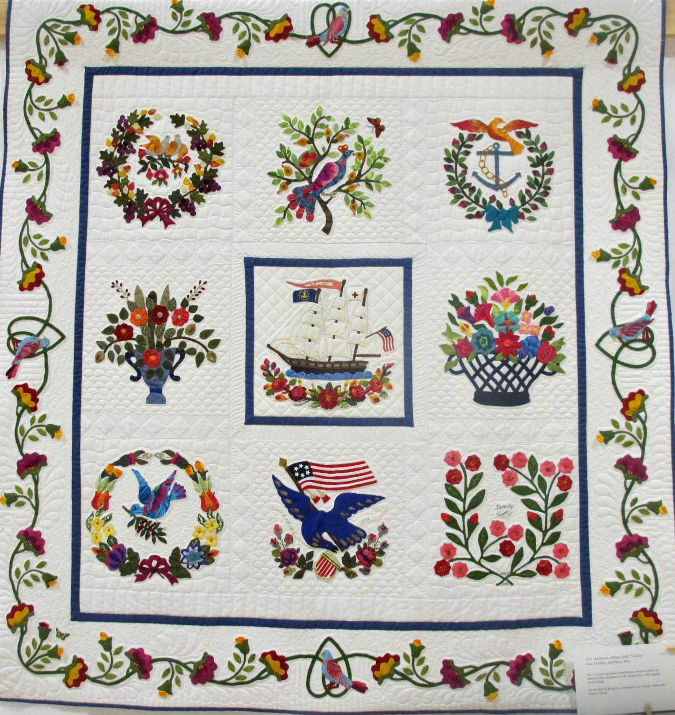 "Joan Holden (Attleboro, MA) ""Baltimore Album Quilt 'Family'"""